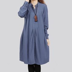 Cotton/linen shirt-dress - pleats at the yoke and released tucks from the button plackets.