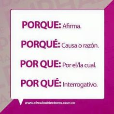 porque = because el porqué = the reason por que = by /through which. por qué = why Spanish Help, Spanish Basics, Spanish Lessons, How To Speak Spanish, Spanish Grammar, Spanish Vocabulary, Spanish Language Learning, Writing Skills, Writing Tips