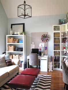 Have a workspace in your living room? @Autumn Clemons posted this great solution using BILLY corner storage.