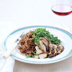 Drunken Risotto with Grilled Chicken. Use a red wine that you'd drink!