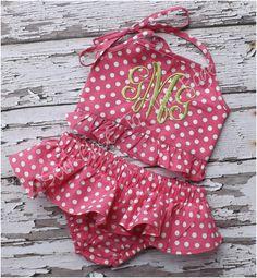 Custom Boutique Girls Pink Dot Ruffled Swimsuit - Monogrammed Bikini Swim Suit - Infant and Toddler