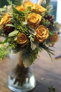 Yellow Roses and Pinecones..something different for the Holidays. Holly Chapple | The Full Bouquet Blog