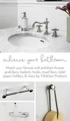 Match your fixtures with polished chrome grab bars, baskets, hooks, towel bars, toilet paper holders, and more by TileWare Products. Bathroom storage solutions built to last.