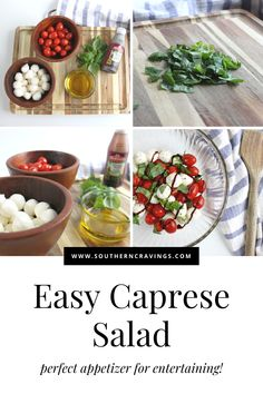 Fresh and flavorful, this Caprese salad is the perfect appetizer for your next BBQ or just by itself. Ready in 5 minutes! Quick Appetizers, Holiday Appetizers, Appetizer Recipes, Easy Dinner Party Recipes, Easy Potluck Recipes, Caprese Appetizer, Caprese Salad Recipe, Holiday Side Dishes, Side Dishes Easy