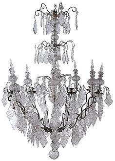 18th Century French Antique Crystal Chandelier with 8 Spires