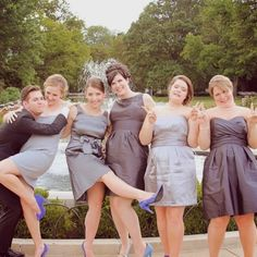 Best bridal party evar!!! Love the mismatch dresses. :)
