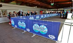 Custom printed crowd control barrier covers and banners. Event Signage, Outdoor Signage, Mesh Banner, Event Banner, Fences, Display Ideas, 30 Years, Banners, Crowd