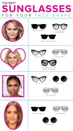 you can rock new shades! 15 sunglasses styles to fit your face shape - Yes, you can rock new shades! 15 sunglasses styles to fit your face shape – – -Yes, you can rock new shades! 15 sunglasses styles to fit your face shape - Yes, you can rock . Sunglasses For Your Face Shape, Glasses For Face Shape, Round Face Sunglasses, Cute Sunglasses, Eyeglasses For Women Round Face, Summer Sunglasses, Sunglasses Women, Diamond Face Shape, Lunette Style