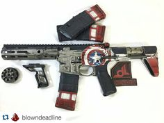 Captain America SBR. This really spangles my banners y'all.  #Repost @blowndeadline with @repostapp  Captain America themed SBR all done and ready to be shipped. This is one I wish I had everything to assemble it! @spikes_tactical @strikeindustries_si @bravocompanyusa @axts_weapons @mvbindustries @magpul @fortismfg #cerakote #cerakoteslayer #cerakotethatshit #cerakotecertified #battleworn #captainamerica by amerikels