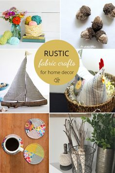 Warm up your home with these creative DIY fabric crafts in a rustic style. Boat Crafts, Crafts To Do, Rustic Crafts, Rustic Decor, Sailboat Craft, Fabric Basket Tutorial, Acorn Crafts, Rustic Fabric, Fabric Tree