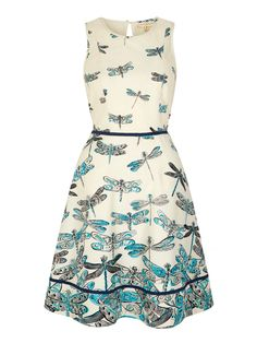 Uttam Boutique Dragonfly Print Day Dress Blue £45.00 AT vintagedancer.com