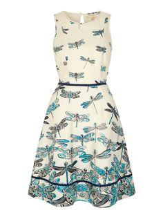 Uttam Boutique Dragonfly Print Day Dress Blue £45.00 AT vintagedancer.com