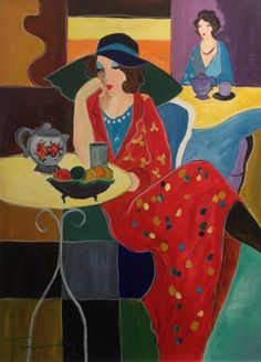 ITZCHAK TARKAY - EVENING CAFE Size: 39.5 X 30 INCHES	 Medium: OIL ON CANVAS	Edition: ORIGINAL Hand signed by the artist. Artwork is in excellent condition.
