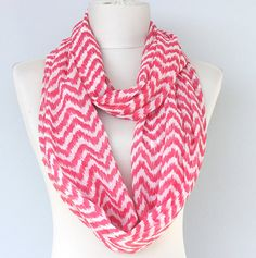 This chevron infinity scarf is sewn with lightweight crepe crinkle chiffon fabric.    It has chevron pattern resembling ikat fabric.