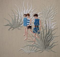Knowing how tedious and exacting embroidery can be, I'm simply wowed by the workof LA based artistMichelle Kingdom. The details of each of her embroidered works are so fine,it almost feels as if you can reach out and touch the emotion from her subjects and landscapes. It's also fascinating to