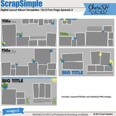 ScrapSimple Digital Layout Album Templates: 12x12 Two Page Spreads 2