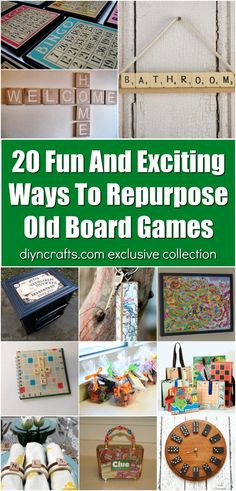 20 Fun And Exciting Ways To Repurpose Old Board Games! You can do all kinds of easy craft projects with old board games! Try one of these fun repurposing ideas for your old board games today! They make cute and easy home decor! Old Board Games, Board Game Pieces, Board Games For Kids, Old Games, Game Boards, Storage For Board Games, Easy Craft Projects, Easy Crafts, Diy And Crafts