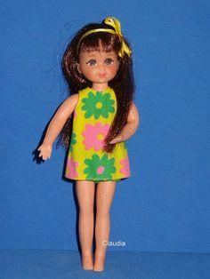 Vintage Tutti Chris Doll 3570 Brunette w Yellow Floral Sundress Green Panties | eBay