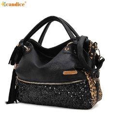 12.68$  Watch here - http://ali3bt.shopchina.info/go.php?t=32787786462 - Naivety Fashion Casual Leopard Tassels Handbag Paillette Women Messenger Bag 10S70105 drop shipping 12.68$ #aliexpresschina