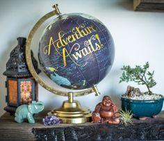 Travel Globe, Quote Globe, Travel Quote, Travel Gift, Wanderlust, Typography, Hand Lettered, Adventure, Travel