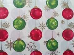 Vintage Christmas Gift Wrapping Paper - Christmas Glow by Hallmark - Red, Green…