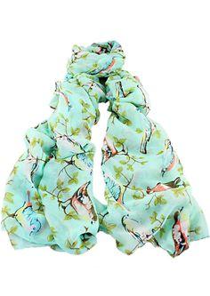 écharpe motif feuilles et oiseaux -vert