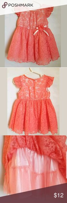 18 mo Frilly Coral Dress Frilly and pretty pink dress. Very good condition! No snags or frays.  Small light stain on the INSIDE of the dress, back side. See picture #5. Not visible when worn. Bloome de Jeune Fille Dresses Formal