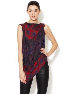 Edun Silk Top with Asymmetrical Hem