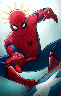 """theandrewkwan: """"Hey, everyone!"""" Can't wait for Captain America: Civil War and it's been a very long time since I've drawn Spider-Man."""