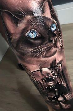 Cat Portrait Tattoos, Dog Tattoos, Body Art Tattoos, Sleeve Tattoos, Great Tattoos, Small Tattoos, Tattoos For Guys, Beautiful Tattoos, Tattoo Gato