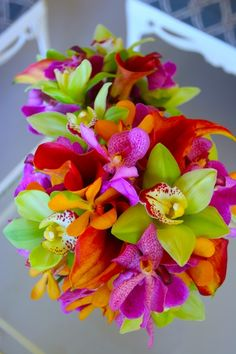 red wedding bouquets flowers tropical