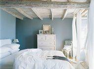 pickled beamed bedroom