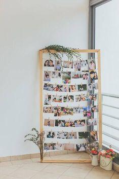 Decoration Photo, Photo Wall Decor, Bridal Shower Photos, Hanging Pictures, Grad Parties, Party Photos, Photo Displays, Elle Decor, Diy Room Decor