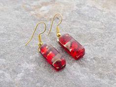 Orecchini a barretta in vetro di Murano originale rosso fuoco