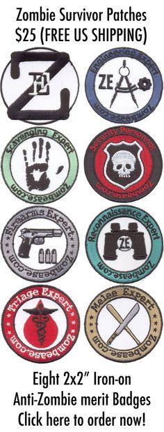 Zombease: Anti-Zombie Merit Badge Patches!