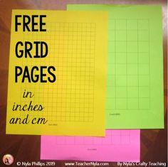 Free Grid Paper Templates by Nyla's Crafty Teaching Sixth Grade, Second Grade, Fourth Grade, Free Teaching Resources, Teaching Ideas, Printable Graph Paper, Teacher Blogs, Teacher Stuff, Bar Graphs