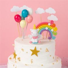 Rainbow Unicorn Cake Topper Birthday Wedding Cake Flags Cloud Balloon – Taylor Made Events For You Balloon Cupcakes, Balloon Cake, Unicorn Cake Topper, Zucchini Cake, Happy Birthday Parties, Salty Cake, Birthday Cake Toppers, Cake Birthday, Cake Tins
