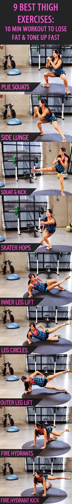 9 Best Thigh Exercises: Our favorite fitness trainer Kelsey Lee shows you how to Get Thinner Thighs in Just Over Ten Minutes. Tone your quads and hamstrings and get rid of some pesky fat on your thighs Easy Workouts, At Home Workouts, Body Fitness, Health Fitness, Workout Fitness, Health Diet, Entrainement Running, Best Thigh Exercises, Thigh Workouts