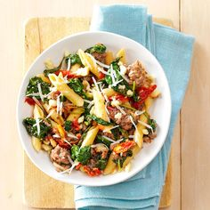 Italian Sausage & Sun-Dried Tomato Pasta Recipe -Flavor-packed sausage and sun-dried tomatoes are sure to liven up any simple pasta dish. I have a feeling that once you've tried it, it'll become a family favorite!—Dawn Singleton, Eighty Four, Pennsylvania