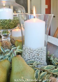 Rice, sand, bay leaves, peas — Head to your pantry or yard for your next fall centerpiece!