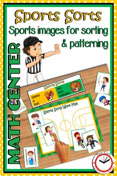 2 math centers in 1 product!  Sports icons for making patterns and sorting into categories.  Great center activities for K & 1.  #mathcenters #sortingactivities #patterningactivities #kindergartenmath #firstgrademath First Grade Lessons, First Grade Math, Math Lessons, Activity Centers, Math Centers, The Fun Factory, Elementary Math, Kindergarten Math, Preschool Special Education