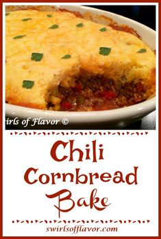 Chili Cornbread Bake is an easy family favorite recipe. A saucy homemade chili is smothered with a cheesy cornbread topping and baked until hot and bubbly! A casserole that's perfect for busy weeknights. Chili Cornbread Casserole, Cheesy Cornbread, Casserole Recipes, Mexican Cornbread, Casserole Dishes, Chili Recipes, Mexican Food Recipes, Dinner Recipes, Dinner Ideas