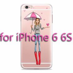 Beautiful Girl drink coffee Design Transparent TPU Case Cover For Iphone 6 6s Fashion Cell Phone Cases