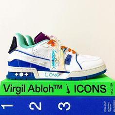 """TAKECHIN on Instagram: """"Louis Vuitton💙💚🧡 . LV Trainer Upcycle♻️ Exclusive Collection✨✨✨✨✨ . . . . . @virgilabloh @louisvuitton . . . . . . . . #louisvuitton…"""" Exclusive Collection, Types Of Shoes, Trainers, Shoes Sneakers, Louis Vuitton, Women, Tennis, Loafers & Slip Ons, Louis Vuitton Wallet"""