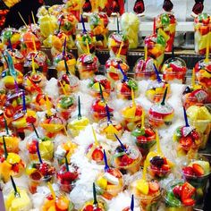 Fresh fruit stand at Barcelona's Mercat de la Boqueria. Photo courtesy of thejetsetredhead on Instagram.