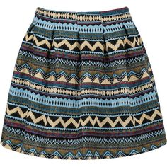 SheIn(sheinside) Blue Tribal Print Flare Skirt ($13) ❤ liked on Polyvore featuring skirts, bottoms, blue, tribal print skater skirt, short circle skirt, flared skirt, blue skirt and print skirt