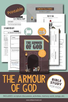 The Armour Of God Bible Study For Kids (Printable) Bible Study Guide, Bible Study For Kids, Bible Activities For Kids, Praise And Worship Songs, Understanding The Bible, Armor Of God, Bible Stories, Bible Lessons, Kids Learning