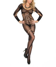 This Black Floral Lace Bodystocking - Plus Too is perfect! #zulilyfinds