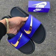 buy popular 526b7 8d671 Nike Benassi JDI Slides Flip Flops customized with Swarovski - Nike Benassi  - Latest   trending