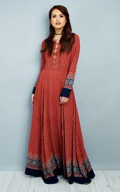 Red Navy Border Long Sleeve Up Maxi Dress - SilkFred